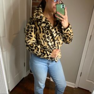 Forever 21 faux fur leopard jacket S